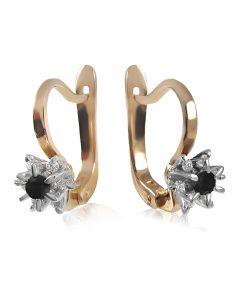 Золотые серьги с черным бриллиантом «Франсуаза»