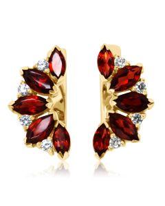 Золоті сережки з гранатами і кристалами Сваровські «Кімберлi»