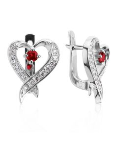 Сережки з невеликими гранатами «Мелодія серця»