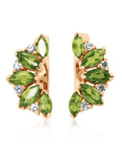 Золотые серьги с хризолитами и кристаллами Сваровски «Кимберли»