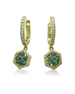 Золоті сережки з смарагдами «Лісова квітка»