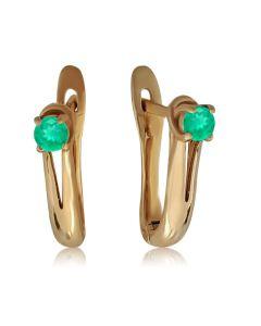 Золоті сережки з смарагдами «Весняний каприз»