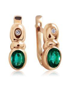 """Золоті сережки з смарагдом і діамантом """"Озеро Вікторії»"""