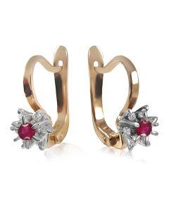 Золоті кульчики з рубіном і діамантами «Франсуаза»