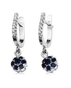 """Сережки-підвіски з сапфірами і діамантом """"Fortunata»"""