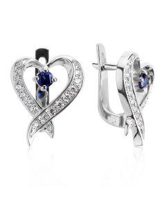 Сережки з невеликими сапфірами «Мелодія серця»