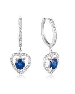 Дімантові сережки з сапфірами в сердечках «Heart of queen»