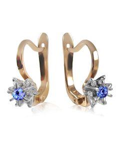 Золотые серьги с танзанитом и бриллиантами «Франсуаза»
