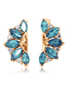 Золоті сережки з топазами і кристалами Сваровські «Кімберлi»