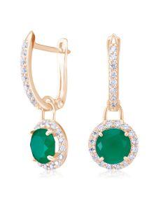 Золоті сережки с зелеными агатами  «Алеся»