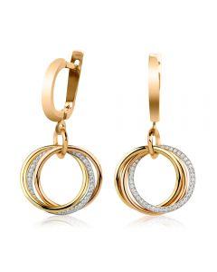 Золотые серьги со Сваровски «Тринити»