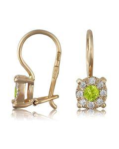 Невеликі сережки з зеленим хризолітом «Фіона»