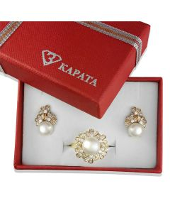 Золотой гарнітур з білими перлинами «Марина»