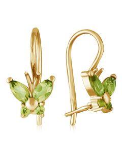 Золоті сережки метелики з хризолітами  «Little Miss»