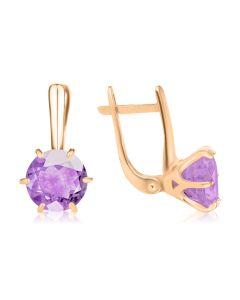 Золоті сережки великими аметистами «My Tiffany»