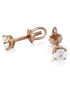 Золоті сережки пусети з Swarovski «Mila»