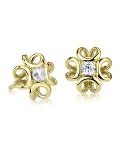 Золотые сережки пусеты с Сваровски «Luxe»
