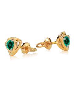 Золотые сережки пусеты с изумрудами «Энигма»