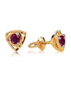 Золотые сережки пусеты с рубинами «Энигма»