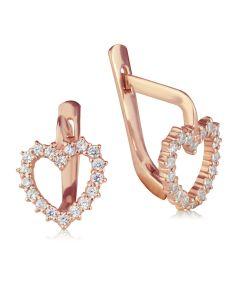 Золоті сережки пусети з цирконієм «Ніжні сердечка»