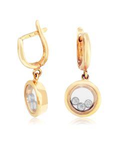 Сережки з рухомим камінням «Плаваючі діаманти»