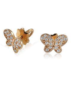 Серьги пусеты в россыпи фианитов «Нежные бабочки»