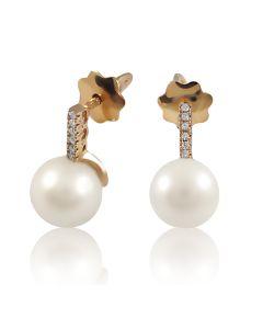 Золоті сережки пусети з перлами 8 мм «Vive Сoco»