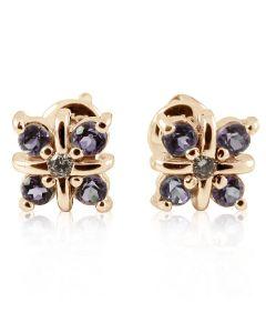 Золотые серьги с аметистами и бриллиантами «Зимний  день»
