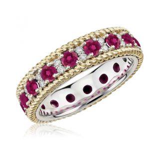 Обручальное кольцо с дорожкой рубинов «Монако»