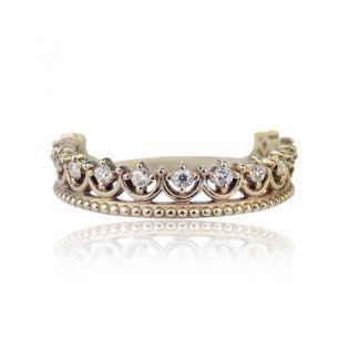Золотое кольцо в виде короны «La princesse»