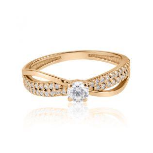 Золотое витое кольцо «Бесконечность»