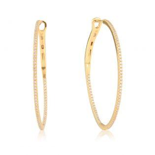 Золоті сережки-кільця з діамантами «Dreamy»