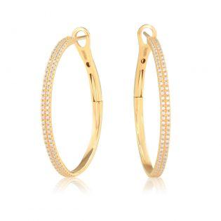 Золоті круглі сережки з фіанітами «Moony»
