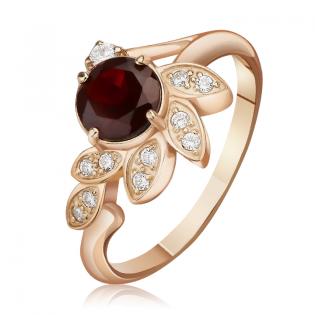 Золотое кольцо с гранатом «Evening flower»