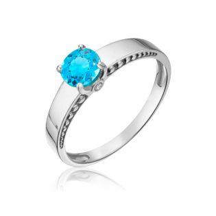 Золотое широкое кольцо с одним топазом «Anemone»