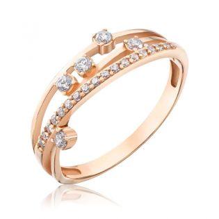 Золотое кольцо с цирконием  «Blossom»