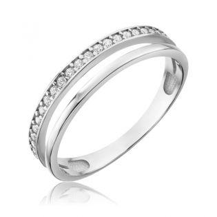 Золотое кольцо с дорожкой фианитов «Graceful lady»