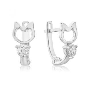 Золотые детские сережки кошечки с фианитами «Little kitty»