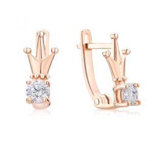 Золотые сережки корона для девочки «Diadem»