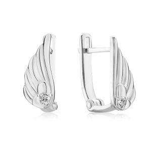 Золотые сережки с бриллиантами в форме крыльев «Mon ange»