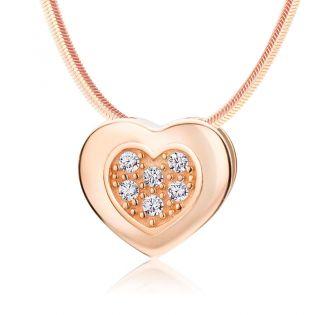 Золотой кулон сердечко с бриллиантами «Beloved»