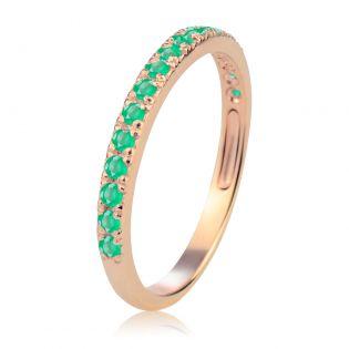 Золотое обручальное кольцо-дорожка с изумрудами «Королева сердца»