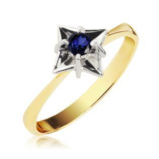Золотое кольцо с одним сапфиром «Дейзи»