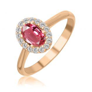 Золотое кольцо с розовой шпинелью «Pink delight»