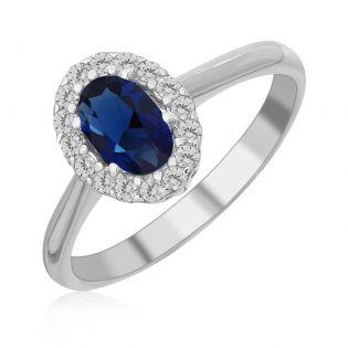 Золотое кольцо с овальным сапфиром «Blue delight»