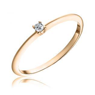 Тонкое золотое кольцо с одним бриллиантом «Infini»