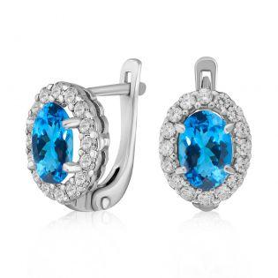 Женские серьги с овальными топазами «Blue delight»