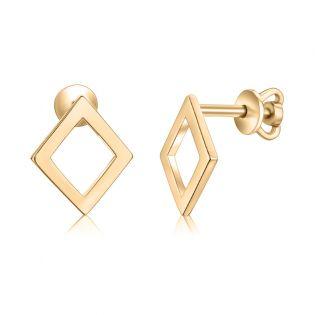 Золотые сережки ромбики «Kira»