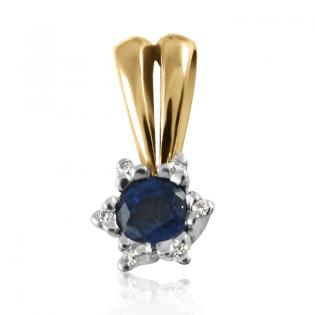 Золотой кулон с сапфиром и бриллиантами «Царевна Будур»