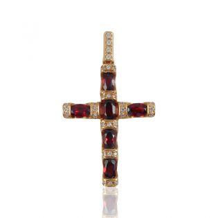 Крестик из золота с гранатами «Золотой век»